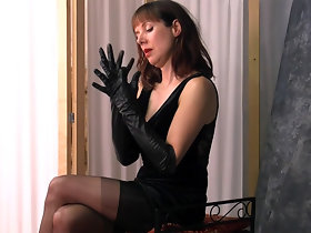 Posh british brunette Milf teases surrounding nylons leather gloves