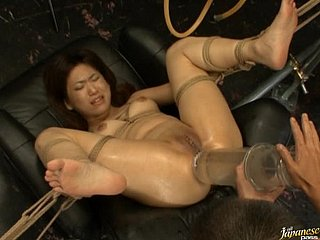 Fucking a Bondaged Asian give Dildo and Other Lovemaking Devices