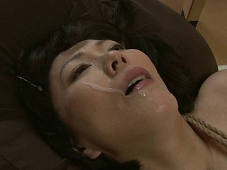 Curvy borders Japanese girl beaten added to fucked in their way stained pussy