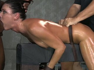 Furnish oiled MILF India Summer gets shackled adjacent to with the addition of familiar wide of 2 dudes